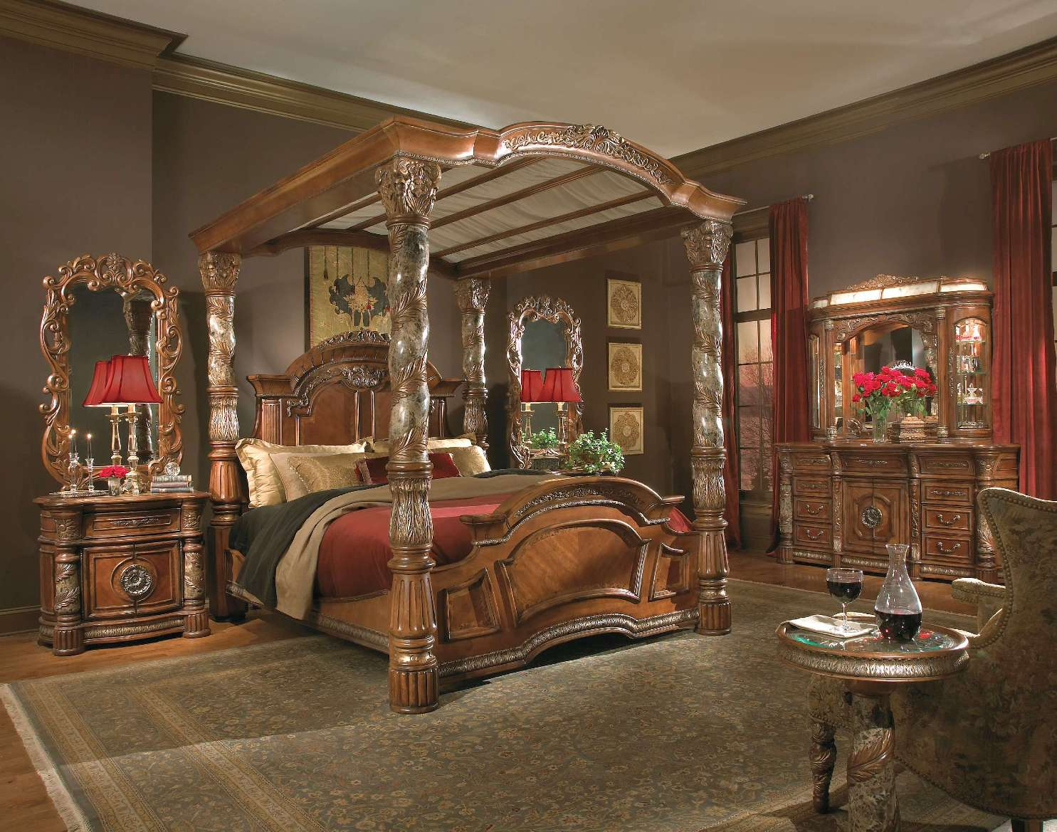 Michael amini villa valencia traditional luxury poster - Four poster king size bedroom sets ...