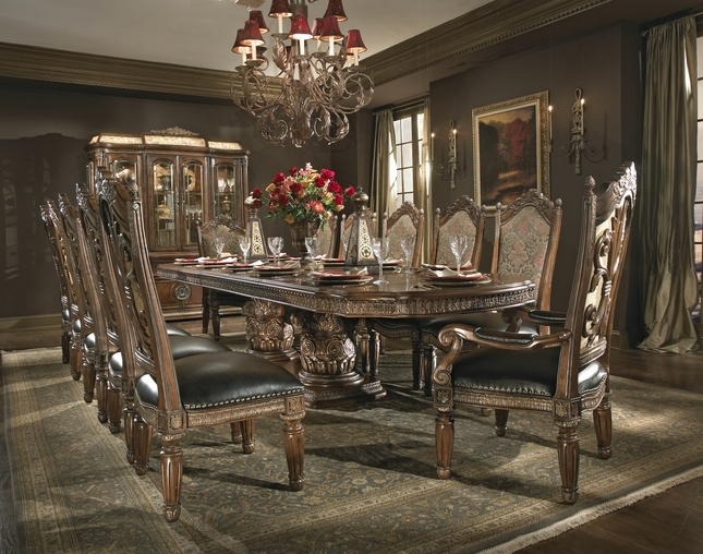 Michael Amini Villa Valencia Chestnut Traditional Rectangular Dining Table Set