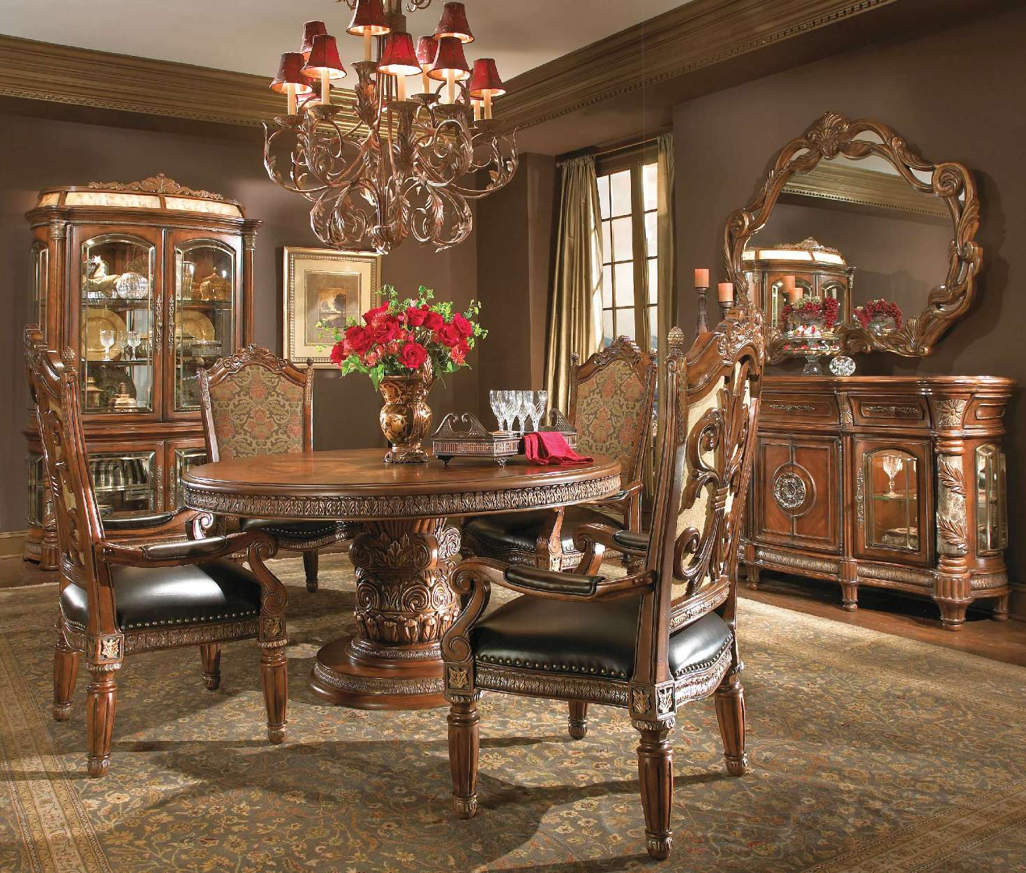 Michael amini villa valencia chestnut traditional round for Traditional dining room sets