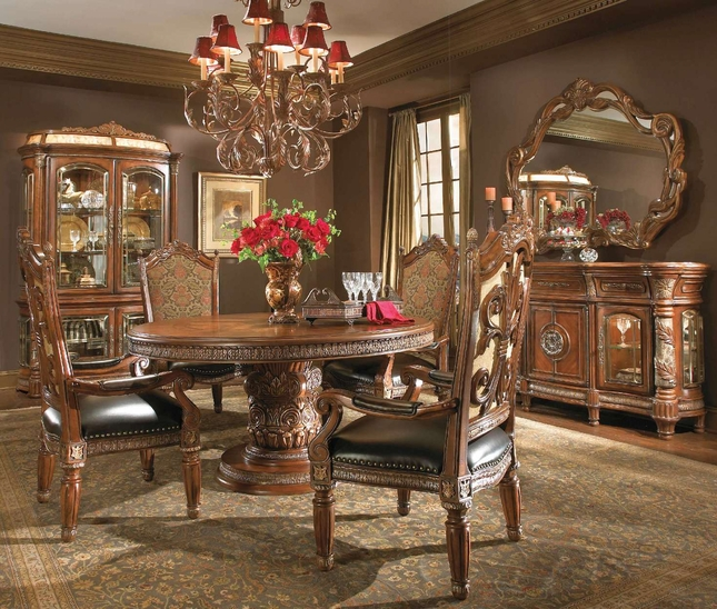 Michael Amini Villa Valencia Chestnut Traditional Round Table Dining ...