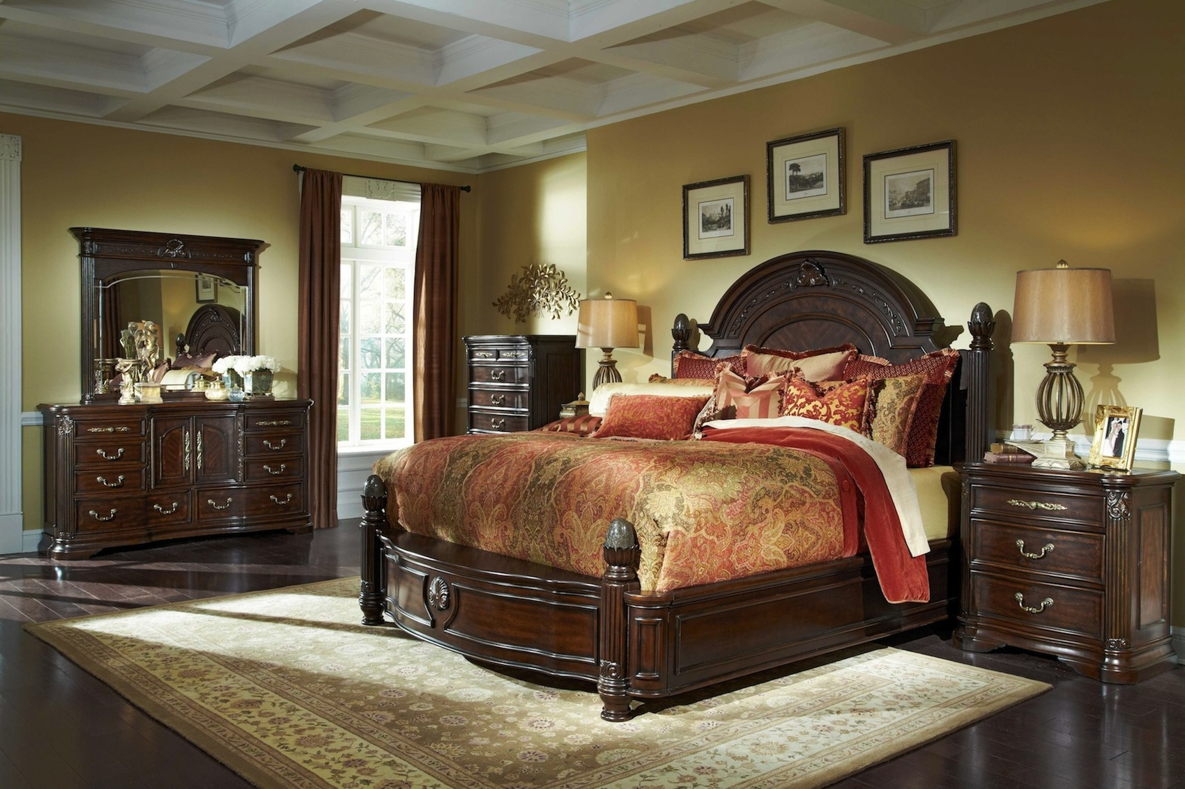 michael amini villagio hazelnut mansion bed 4 pc traditional luxury bedroom set ebay