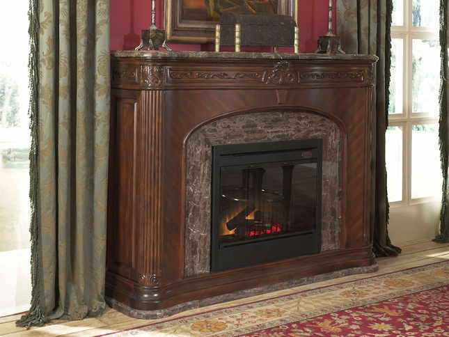 Michael Amini Villagio Hazelnut Finish Traditional Fireplace by AICO