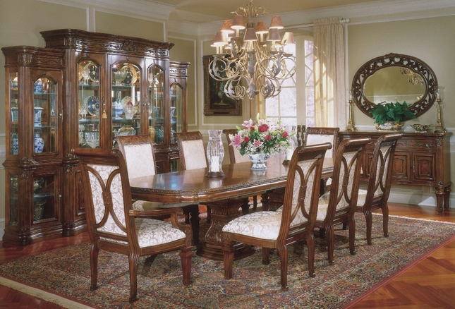 Michael Amini Villagio Hazelnut Traditional Rectangular Table Dining Set by AICO