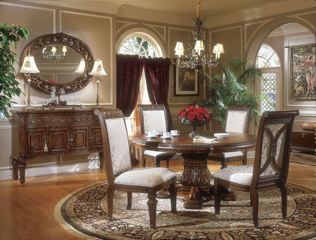 Amini Villagio Hazelnut Traditional Round Table Dining Room Set by ...