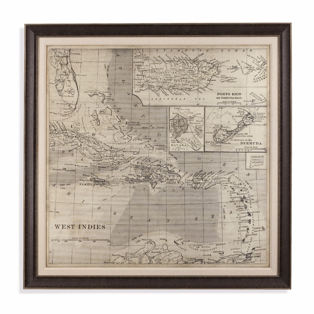 Vintage Map of Caribbean Framed Print Wall Art 9900-260EC