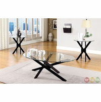 Viola Contemporary Espresso Accent Tables with Cross-leg Design CM4394