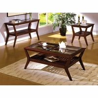 Virginia Beach Contemporary Dark Cherry Accent Tables Set with Open Bottom Shelf