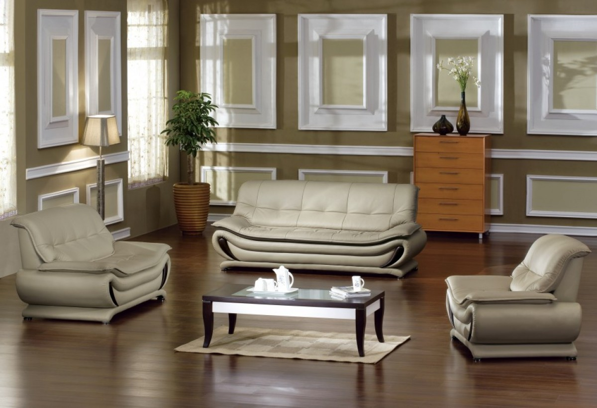 Living Room Furniture: Madrid Taupe Beige Ultra Modern Living Room Furniture 3