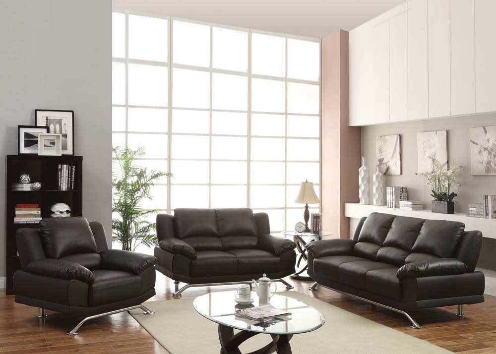 Maigan black ultra modern contemporary living room furniture sofa set for Contemporary living room chairs