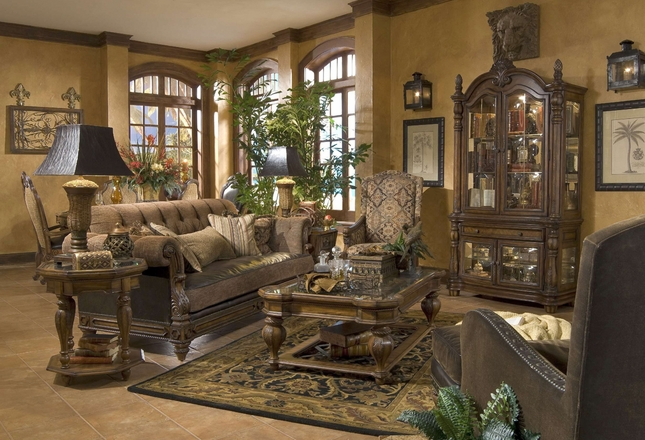 Pleasant Michael Amini Vizcaya Dusted Umber Finish Traditional Unemploymentrelief Wooden Chair Designs For Living Room Unemploymentrelieforg