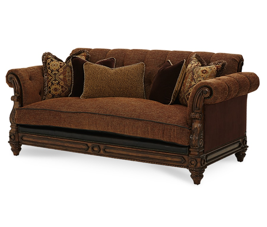 Michael amini vizcaya dusted umber finish traditional for Traditional leather furniture