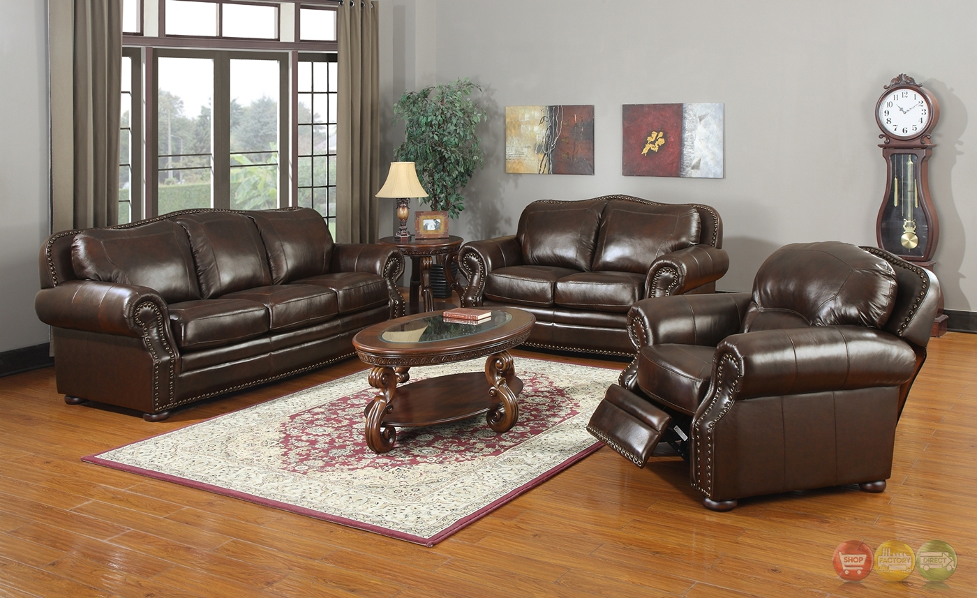 Ranchero traditional antique brown leather sofa 2 chairs for Traditional leather furniture