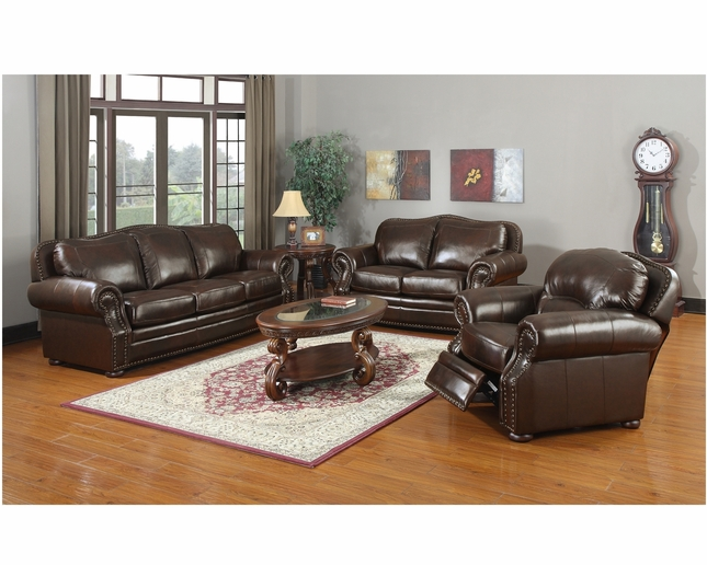 Traditional Antique Hand Rubbed Leather Sofa Love Seat Living Room Set