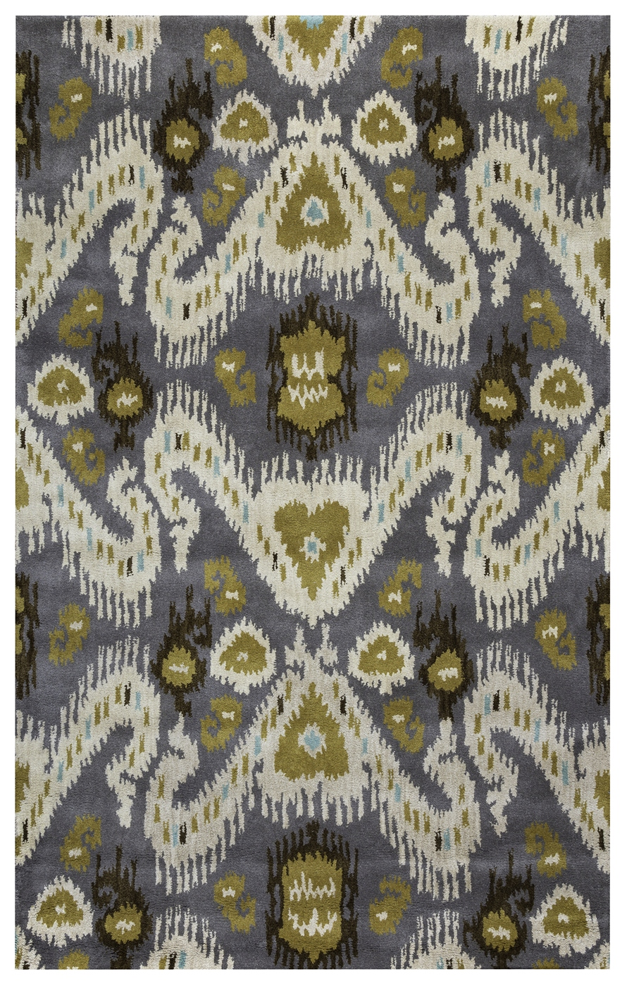Volare Abstract Ikat Wool Area Rug In Gray Ivory Brown