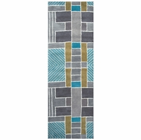 """Volare Wool Runner Area Rug 2'6""""x 8' Grey Gold Blue Teal Off White Color Block"""