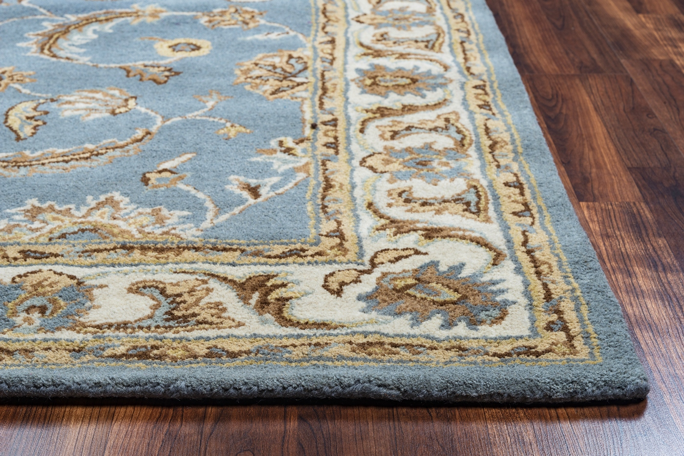 Volare Floral Trellis Pattern Wool Area Rug In Blue Tan