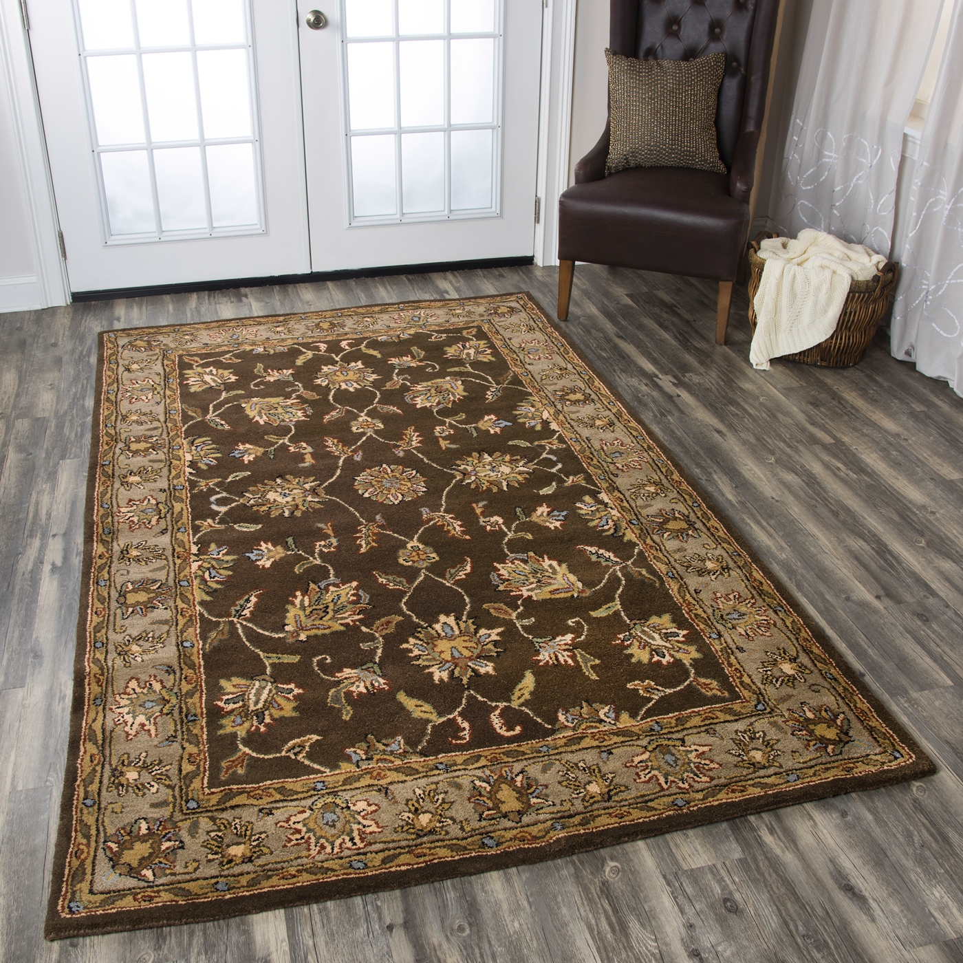 Volare Floral Trellis Pattern Wool Area Rug In Brown Taupe