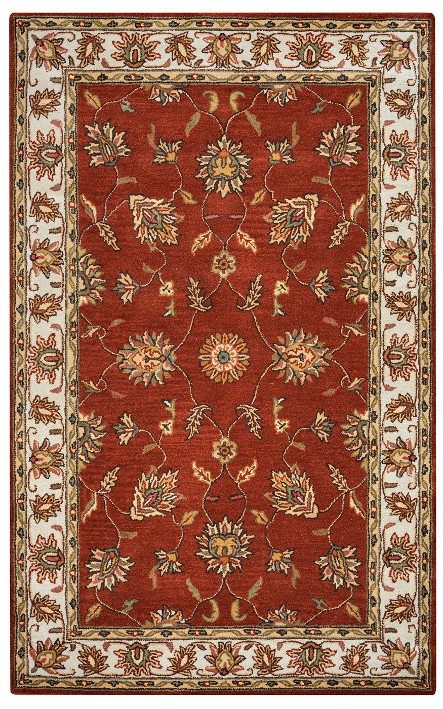 Volare Floral Trellis Pattern Wool Area Rug In Rust Taupe