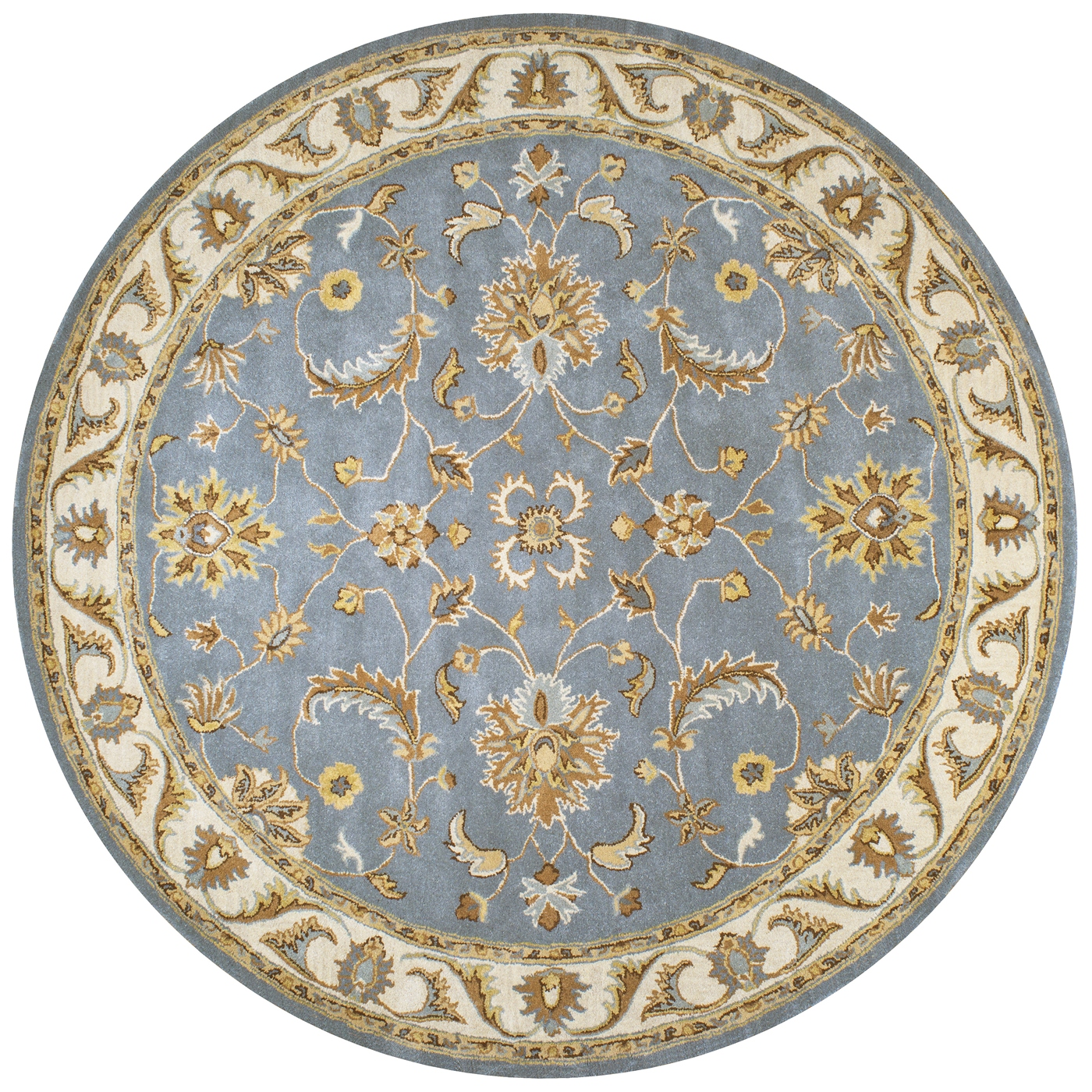 Volare Floral Trellis Pattern Wool Round Rug In Blue Tan