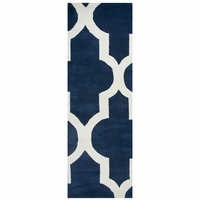 """Rizzy Volare Wool Rectangle Runner Area Rug 2'6""""x 8' Navy Blue Off White Trellis"""