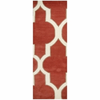 """Home Volare Wool Rectangle Runner Area Rug 2'6""""x 8'Red Ivory White Taupe Trellis"""