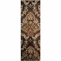 """Volare Wool Runner Area Rug 2'6""""x 8'Brown Red Taupe Camel Ivory White Ornamental"""