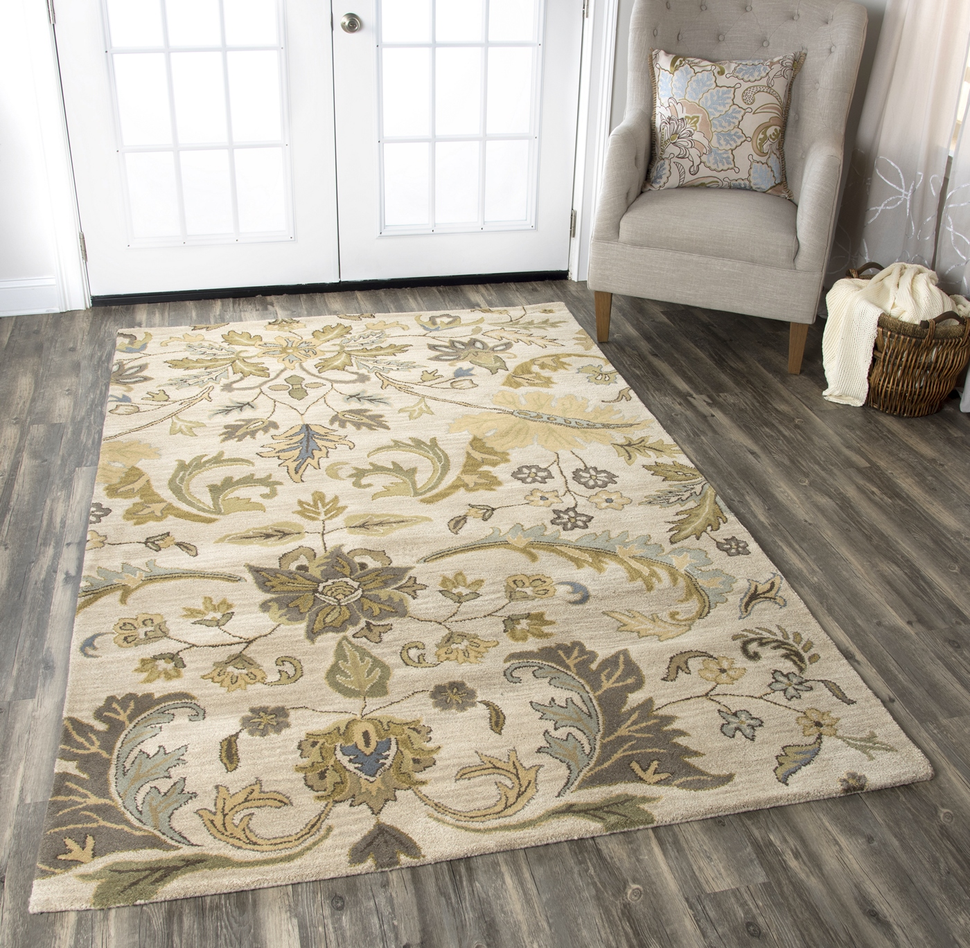 Volare Ornate Botanical Wool Area Rug In Ivory Sage Blue