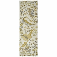 """Volare Wool Runner Area Rug 2'6""""x 8' White Green Brown Khaki Blue Taupe Floral"""