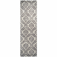 """Rizzy Home Volare Wool Rectangular Runner Area Rug 2'6""""x 8' Natural Brown Damask"""