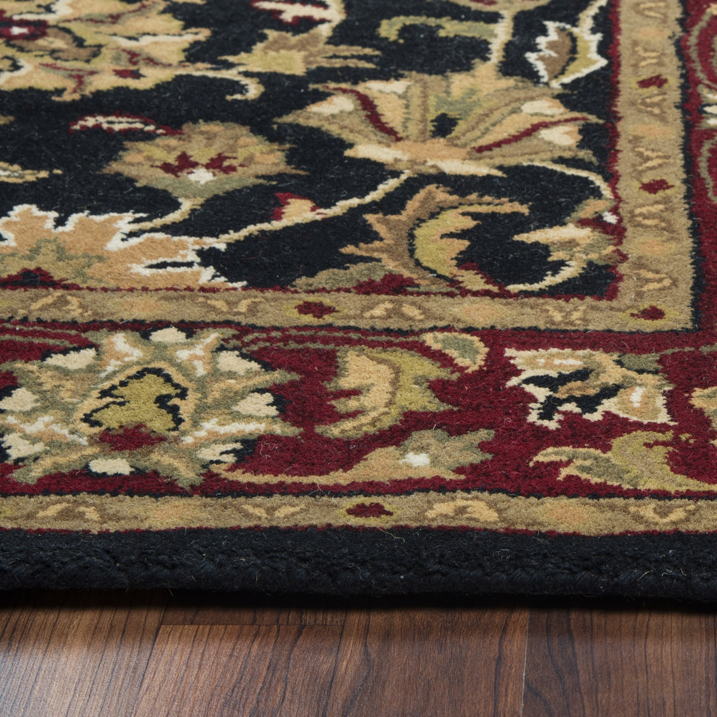 Volare Ornate Vine Pattern Wool Runner Rug In Black