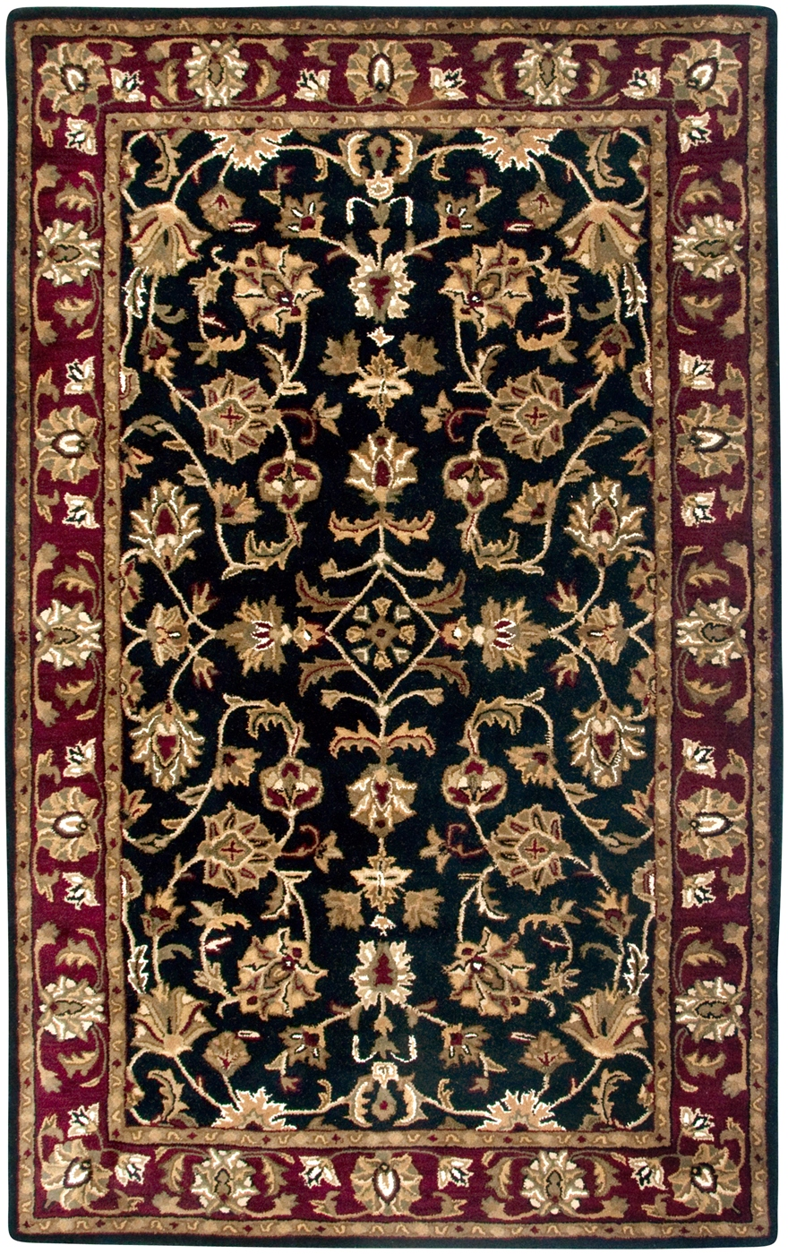 Volare Ornate Vine Pattern Wool Area Rug In Black Burgundy