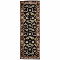 """New Volare Wool Runner Area Rug 2'6""""x 8'Black Red Sage Green Brown Tan Off White"""