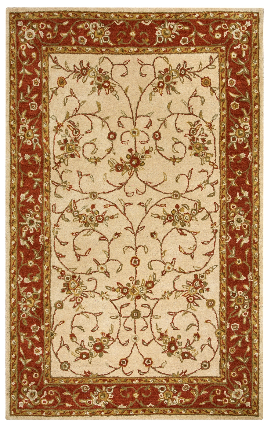 Volare Spiral Trellis Border Wool Area Rug In Tan Burgundy