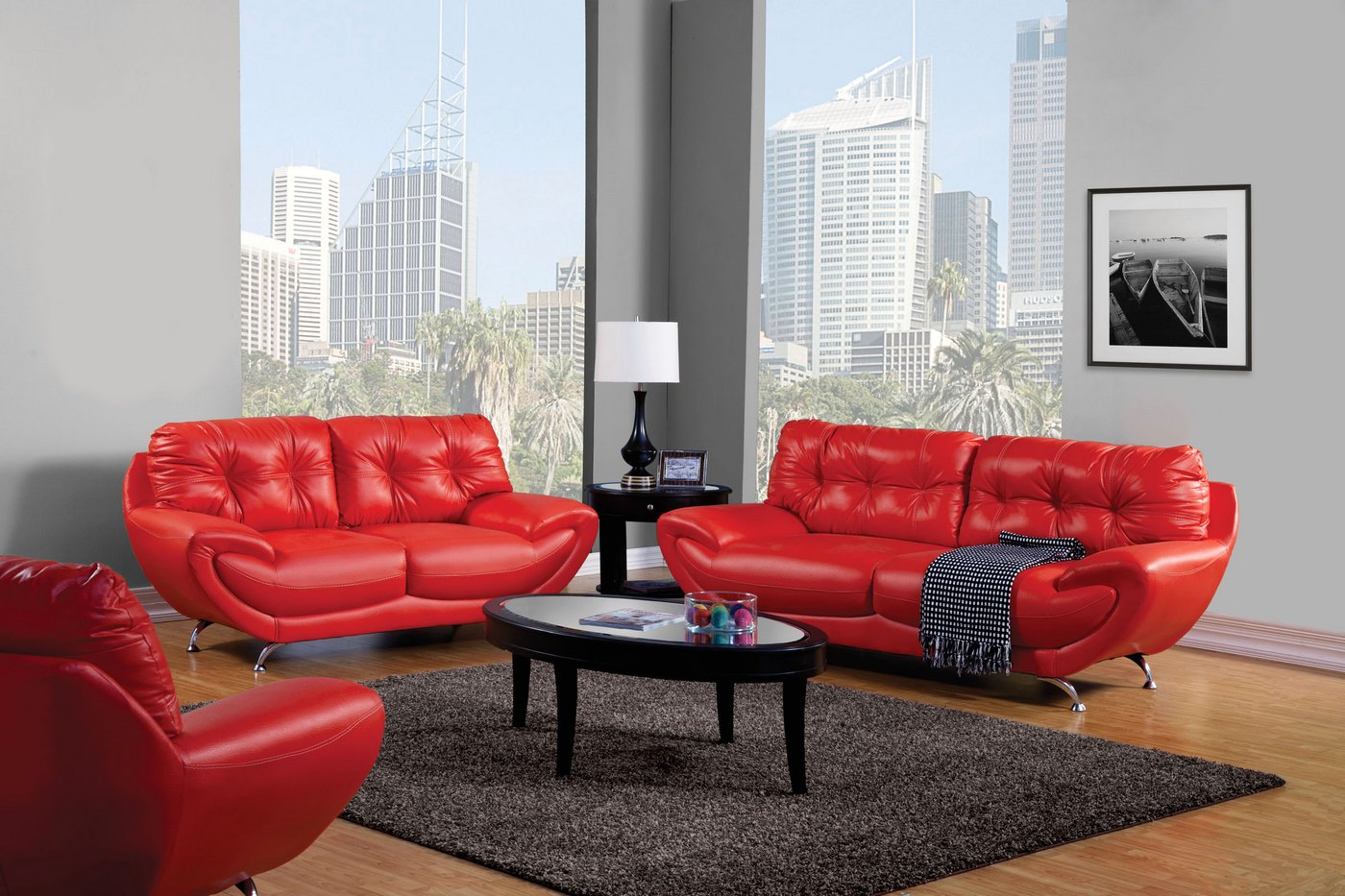 Red Living Room: Volos Modern Red Living Room Set With Rounded Edges SM6082