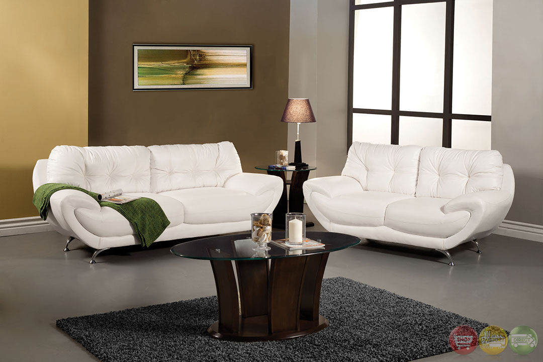 Volos modern white living room set with rounded edges sm6083 for White living room set