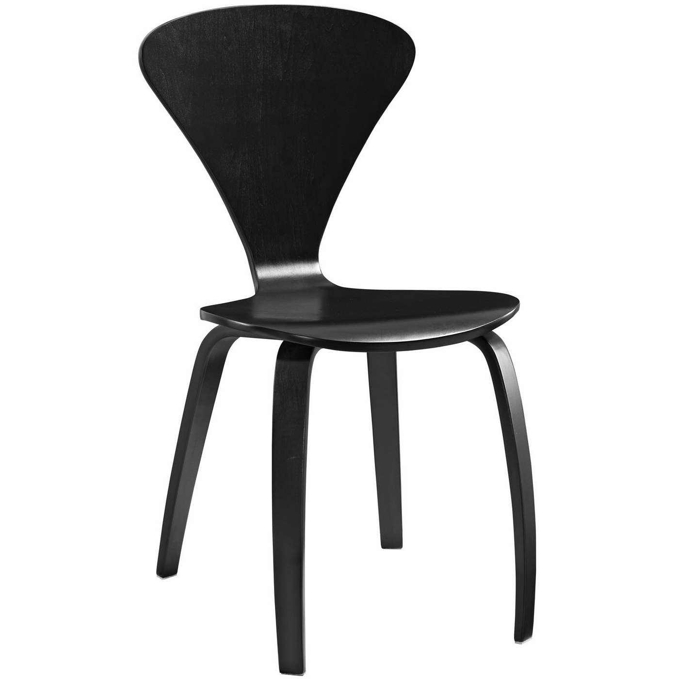 Vortex Contemporary Molded Wood Panel Dining Side Chair Black