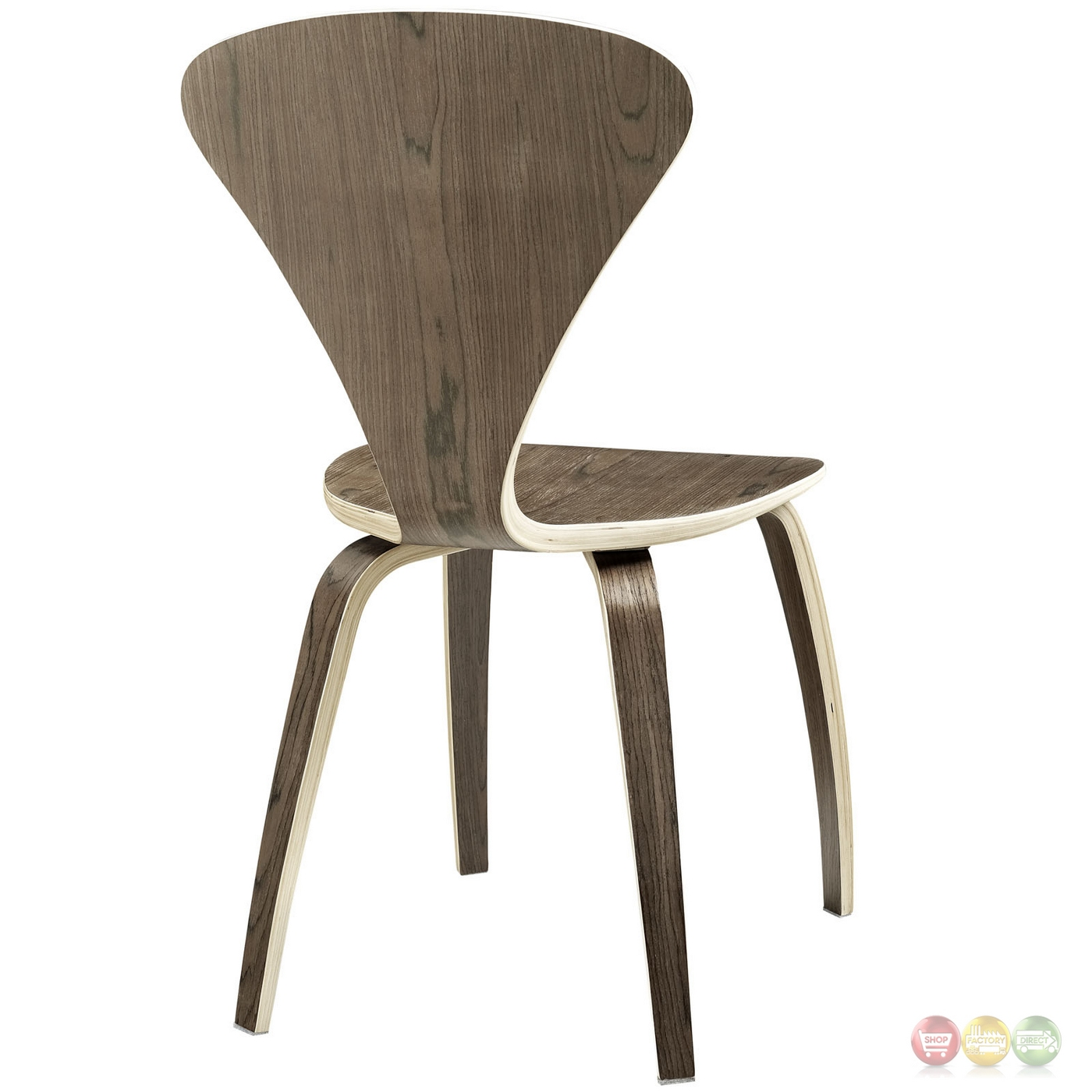 Vortex contemporary molded wood panel dining side chair for Contemporary walnut dining chairs