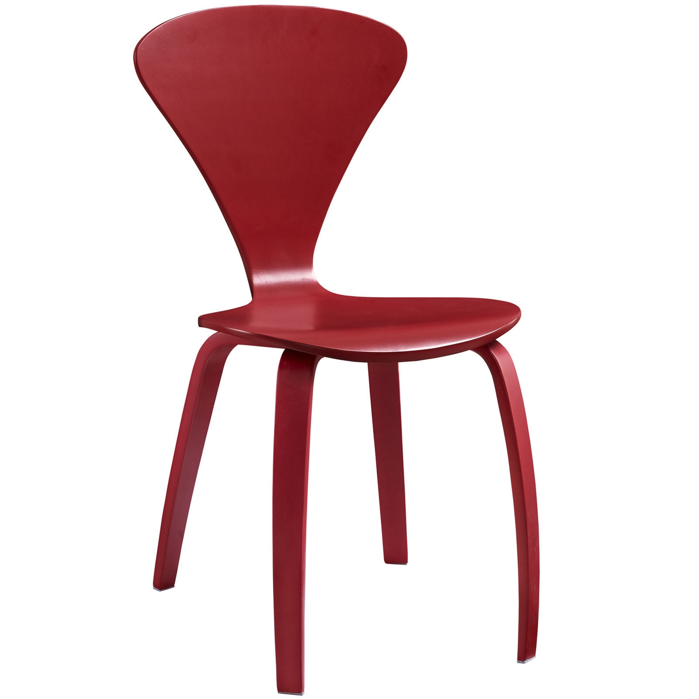 Vortex Contemporary Molded Wood Panel Dining Side Chair Red