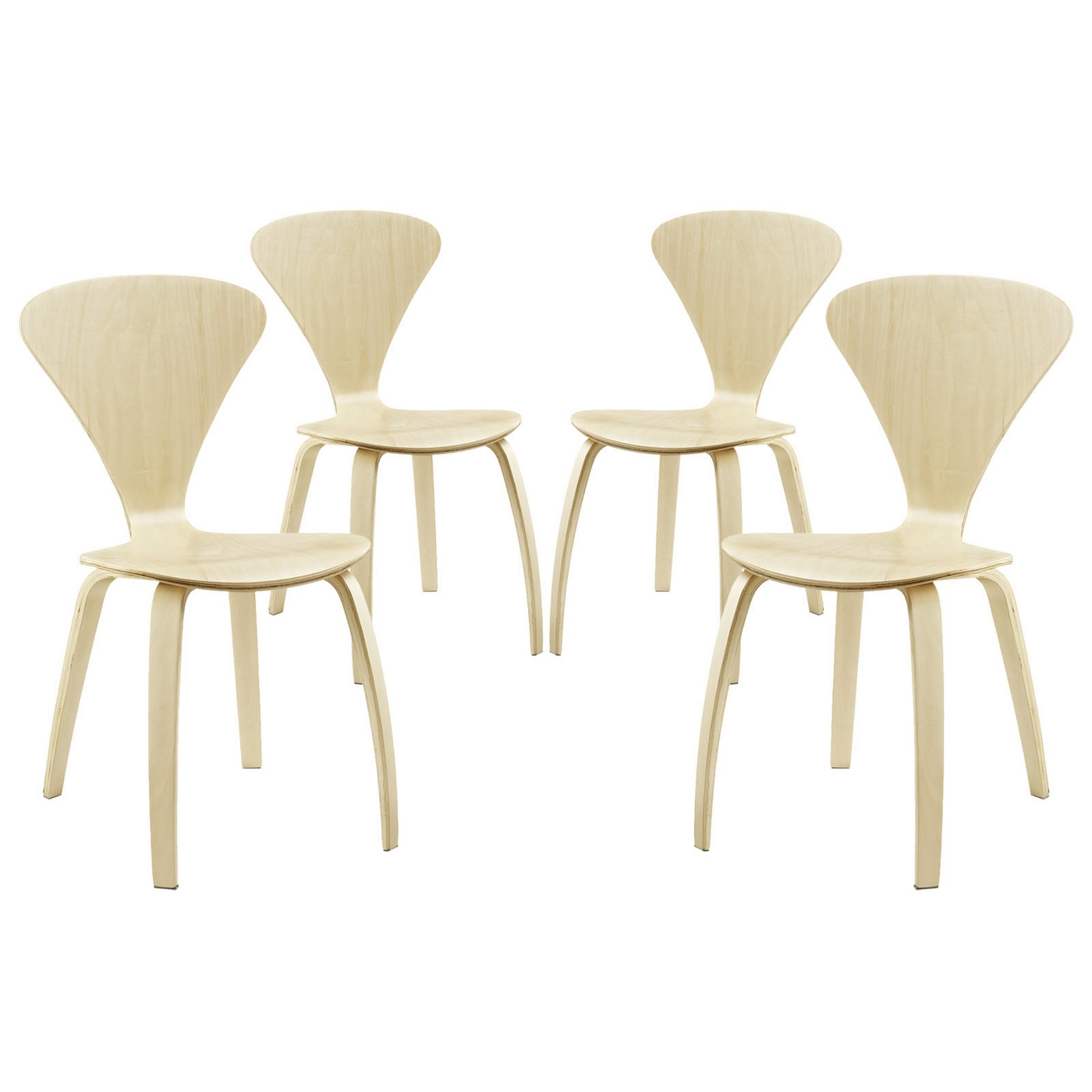 Vortex modern stackable wood dining chairs with v shaped for Natural wood dining chairs