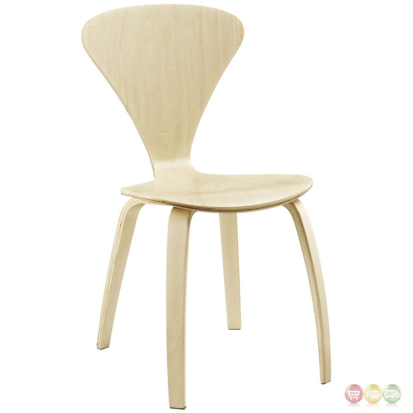 Vortex Modern Wood Panel Dining Chairs With Lacquered