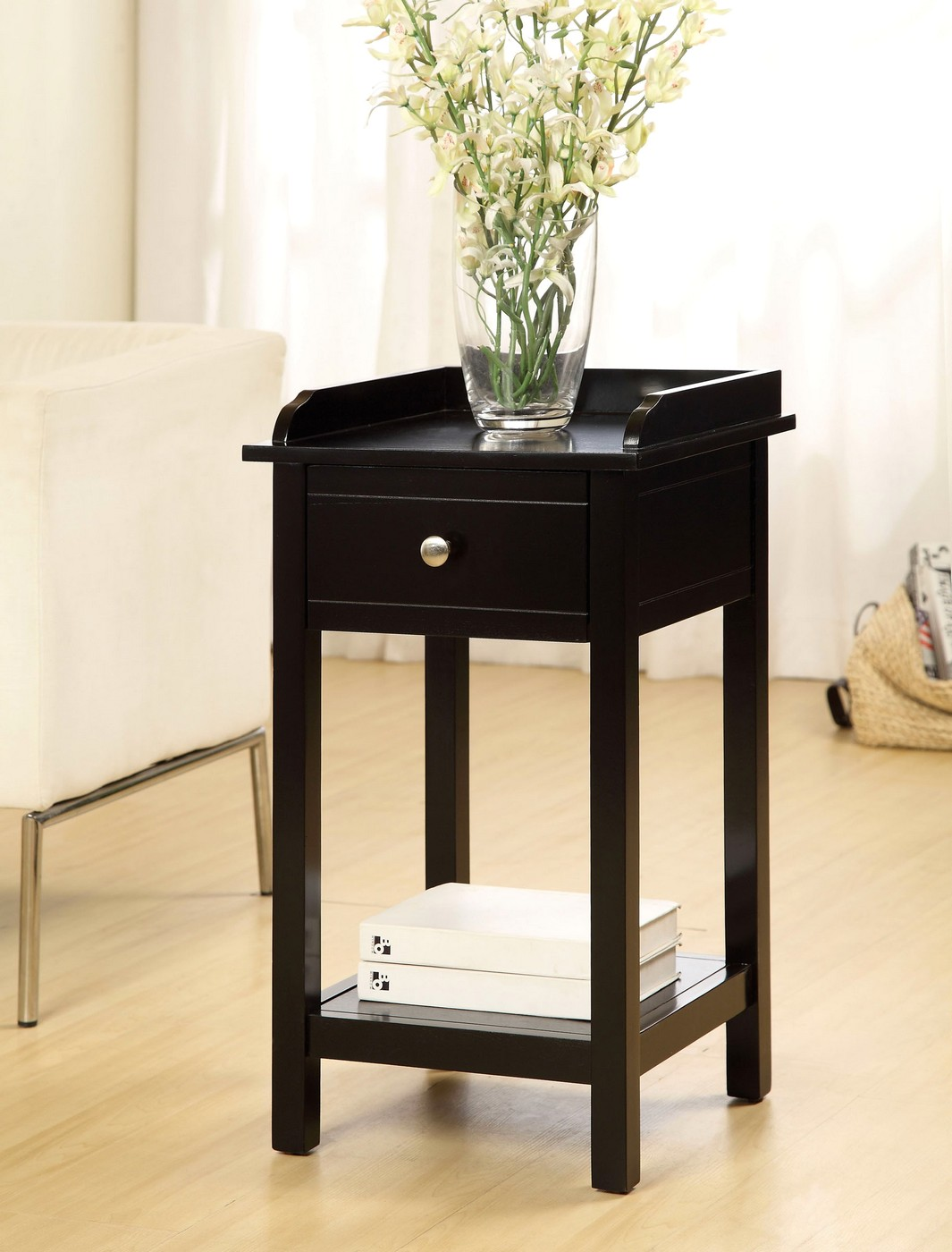 Voula contemporary black accent table with drawer for Black side table with drawer
