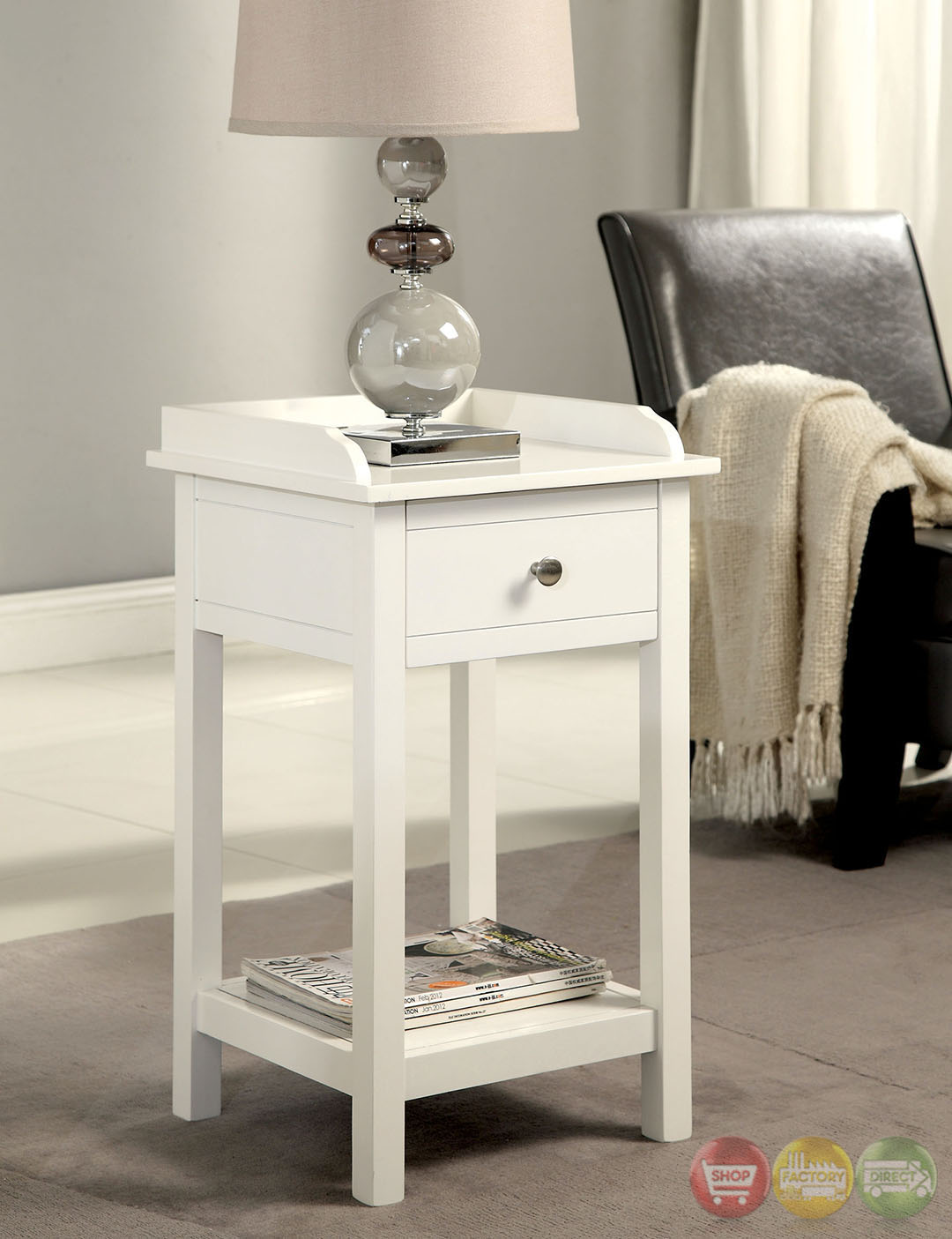 Voula Contemporary White Accent Table With Drawer