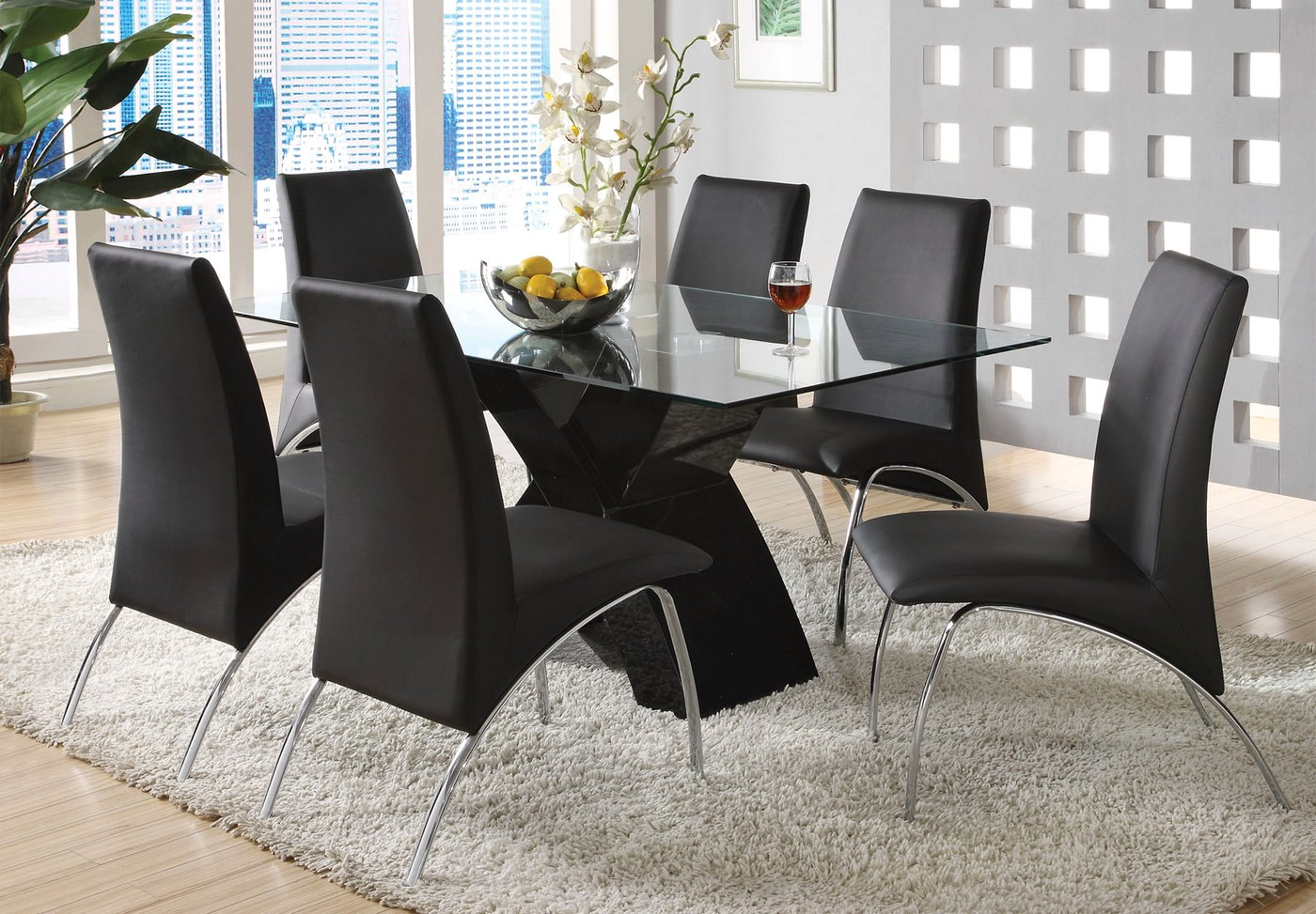 23 Small Dining Table Designs Decorating Ideas: Wailoa Contemporary Black Casual Dining Set With X-Shape