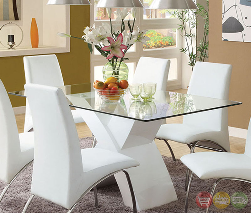 Wailoa contemporary white casual dining set with x shape for White casual dining table
