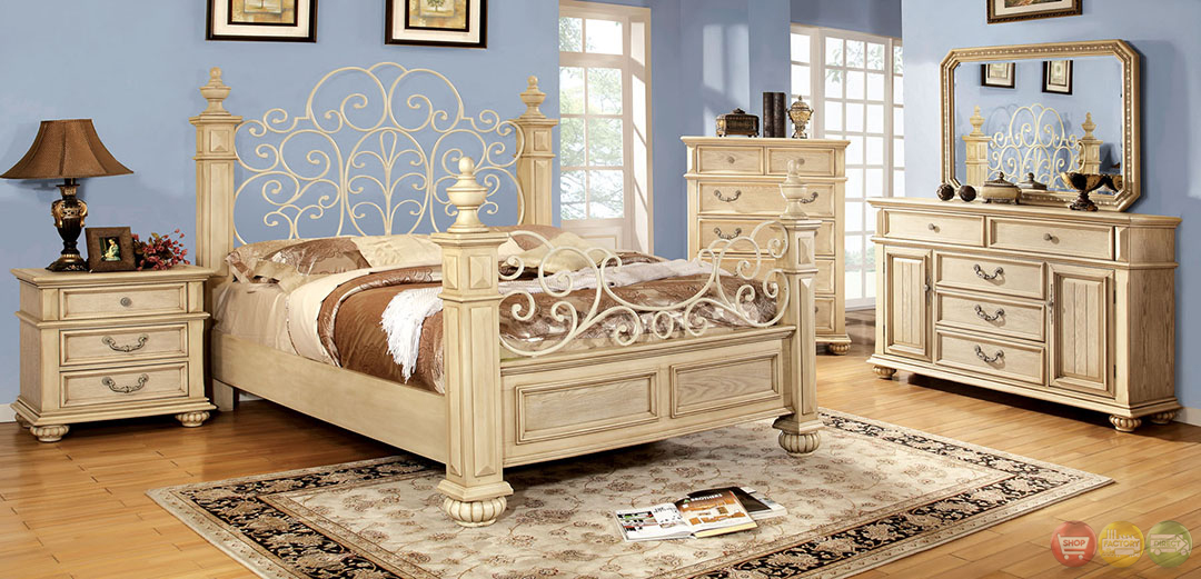 Waldenburg Traditional Antique White Bedroom Set With Floral Metal Design Headboard And