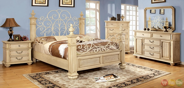 Waldenburg Traditional Antique White Bedroom Set with Floral Metal Designs