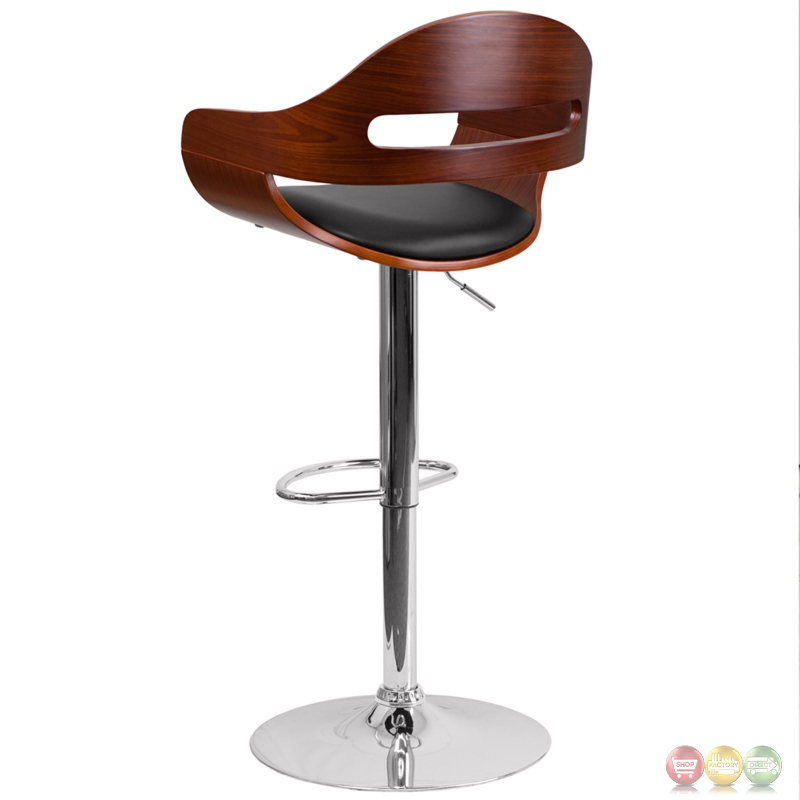 Walnut Bentwood Adjustable Height Barstool W Black Vinyl Seat