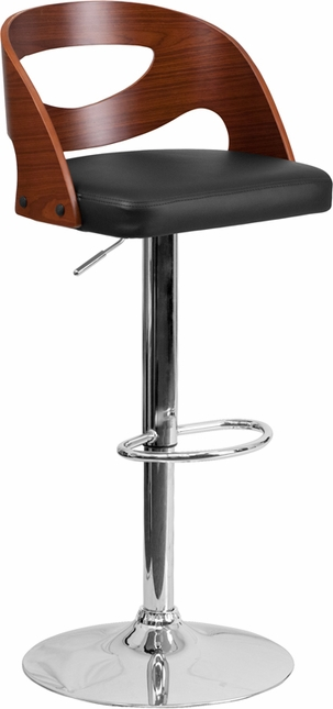 Walnut Bentwood Adjustable Height Barstool With Black Vinyl Seat And Cutout Back