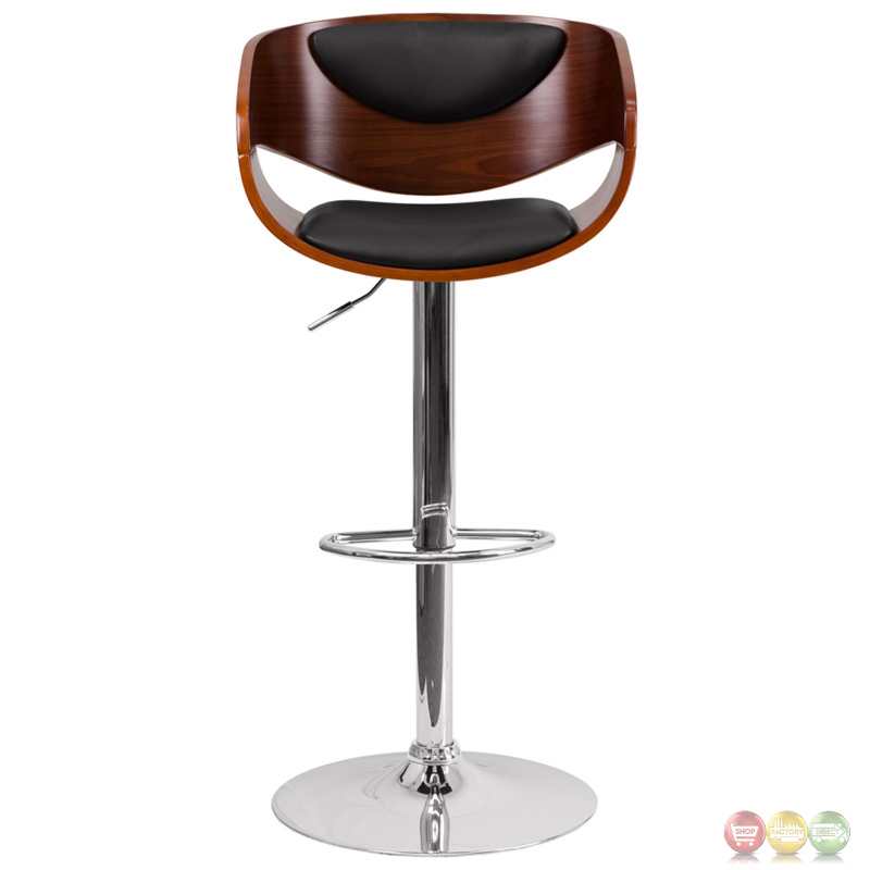 Walnut Bentwood Adjustable Height Barstool With Black