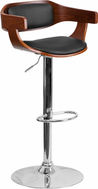 Walnut Bentwood Adjustable Height Barstool With Black Vinyl Upholstery